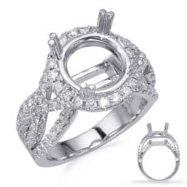 S. Kashi White Gold Halo Engagement Ring (EN8243-3WG)