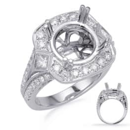 S. Kashi White Gold Halo Engagement Ring (EN8245-4WG)