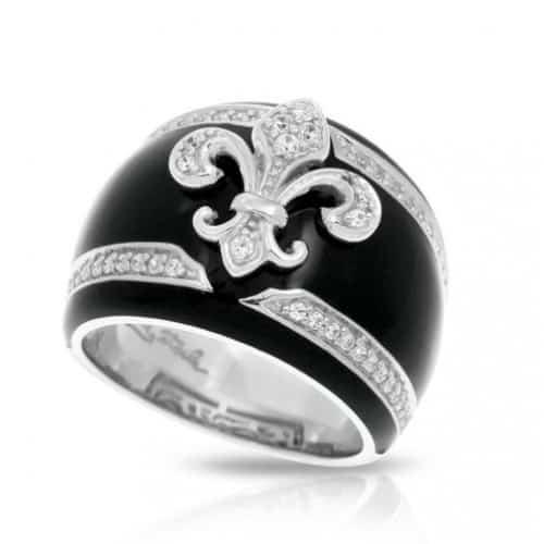 Belle etoile Fleur de Lis Black Ring