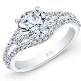 Inspired Vintage Baguette Diamond And Round Diamond Engagement Ring