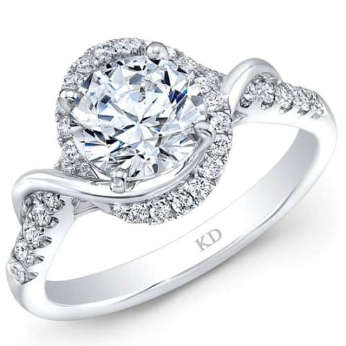 White Gold Contemporary Swirl Halo Diamond Engagement Ring