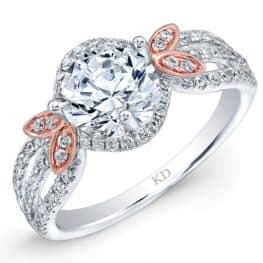White & Rose Gold Fashion Halo Diamond Engagement Ring