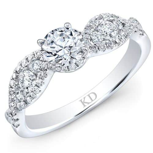 White Gold Twisted Shank Contemporary Diamond Bridal Ring