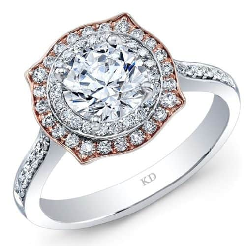 White And Rose Gold Dazzling Halo Diamond Engagement Ring
