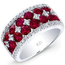 Ruby & Diamond Ring, Natural Color, 18 Karat White Gold