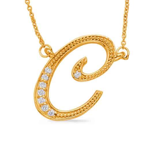 S. Kashi Yellow Gold Diamond Initial C Pendant (N1027-CYG)