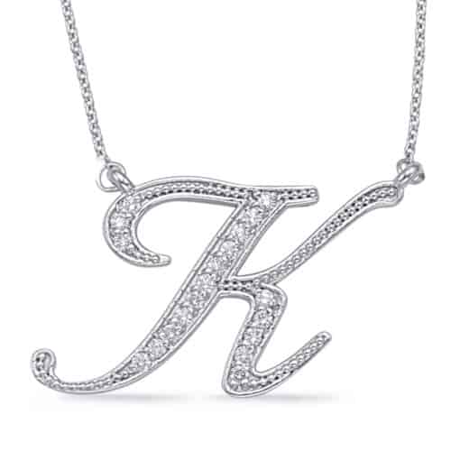 S. Kashi White Gold Diamond Initial K Pendant (N1027-KWG)