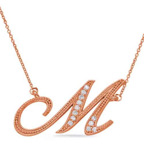 S. Kashi Rose Gold Diamond Initial M Pendant (N1027-MRG)
