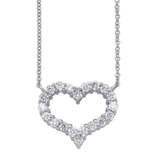 S. Kashi White Gold Diamond Heart Necklace (N1204WG)