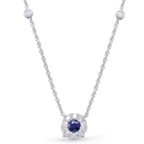 S. Kashi White Gold Diamond & Sapphire Necklace (N1208-SWG)