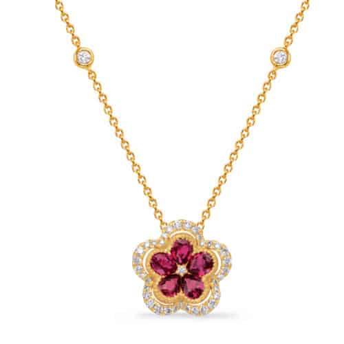 S. Kashi Yellow Gold Diamond & Ruby Necklace (N1239-RYG)