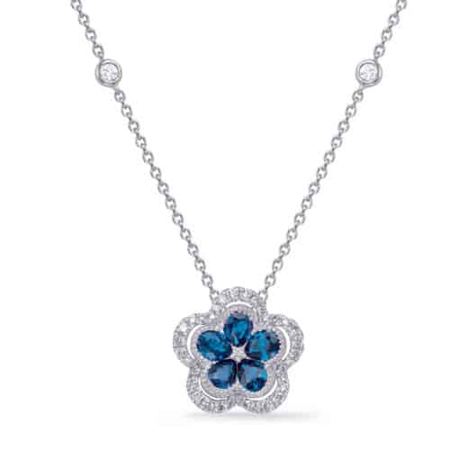 S. Kashi White Gold Diamond & Sapphire Necklace (N1239-SWG)