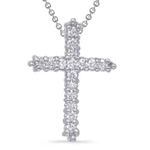 S. Kashi White Gold Diamond Cross Pendant (P2572WG)