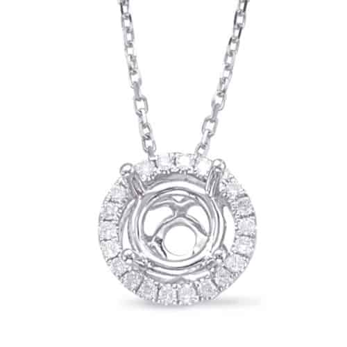 S. Kashi Diamond Pendant halo for .25ct center (P3192-25WG)