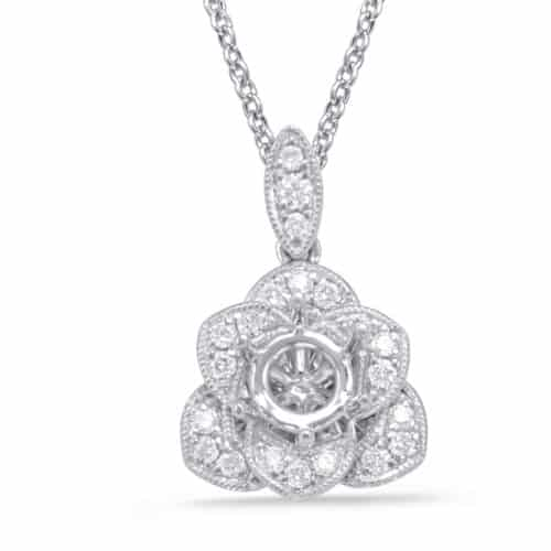 S. Kashi Diamond Pendant For 0.50ct Round (P3296-50WG)