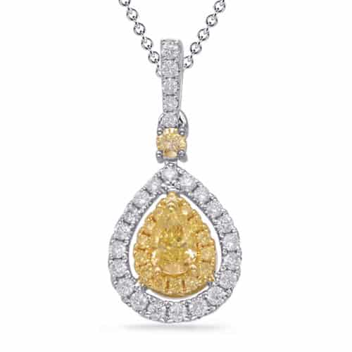 S. Kashi White & Yellow Gold Diamond Pendant (P3319YW)