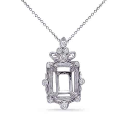 S. Kashi White Gold Diamond Pendant 5x3 EC Center (P3323-5X3MECWG)