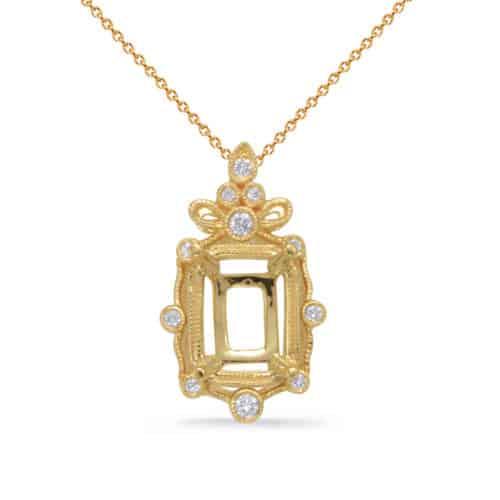 S. Kashi Yellow Gold Diamond Pendant 6x4EC Center (P3323-6X4MECYG)