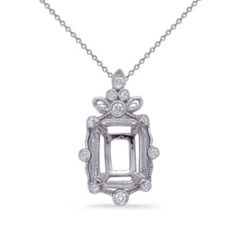 S. Kashi White Gold Diamond Pendant 9x7EC Center (P3323-9X7MECWG)