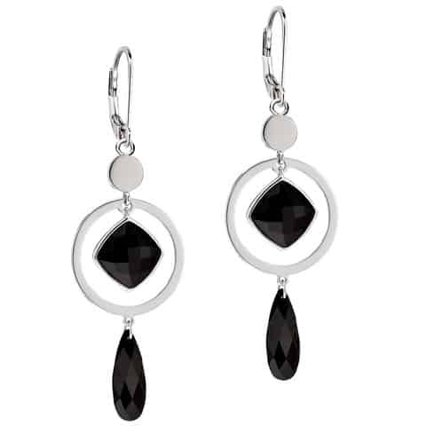 Elle Black Agate Lever Back Earrings