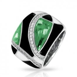 Belle etoile Tango Emerald, Black & White Ring