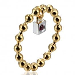 Elle Beaded Gold Plated Ring