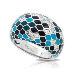 Belle Etoile Constellations Snakeskin Teal Ring