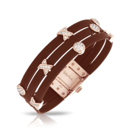 belle etoile hugs and kisses brown rose gold bracelet