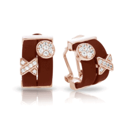 belle etoile hugs and kisses brown rose gold earrings