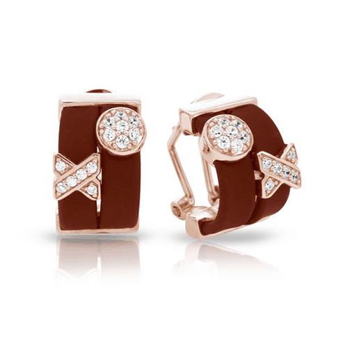 belle etoile hugs and kisses brown rose gold earrings