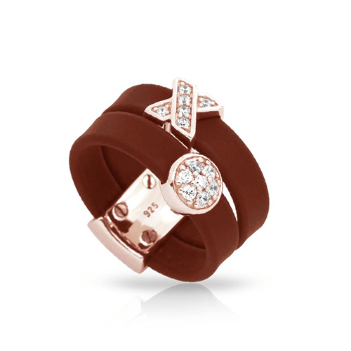 belle etoile hugs and kisses brown rose gold ring