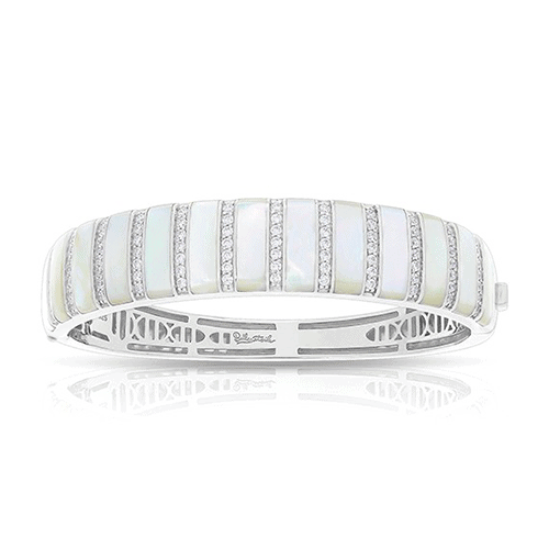 Belle Étoile Regal Stripe Mother-of-Pearl White Bangle Bracelet