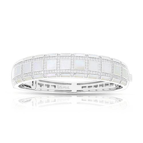 Belle Étoile Regal White Mother-of-Pearl Bangle Bracelet