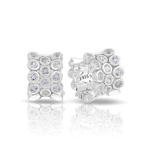 belle etoile shimmer silver earrings