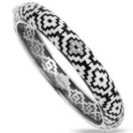Belle Etoile Aztec Black and White Bangle Bracelet