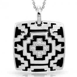 Belle Etoile Aztec Black and White Pendant