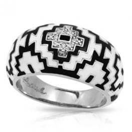 Belle Etoile Aztec Black and White Ring