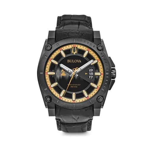 Bulova black alligator leather Grammy watch.