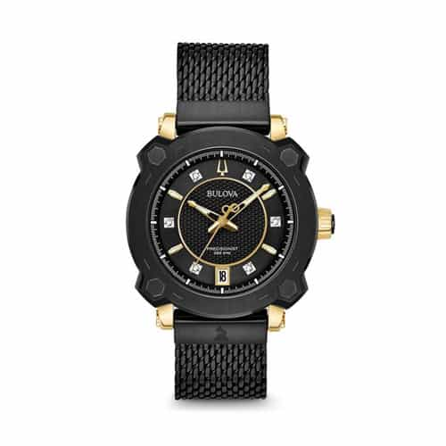 Bulova black stainless womens Grammy watch.