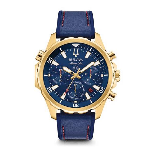 Bulova blue marine star chronograph watch.