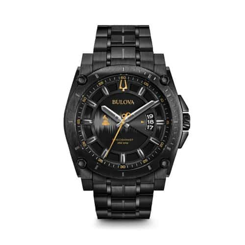 Bulova black stainless steel Grammy watch.
