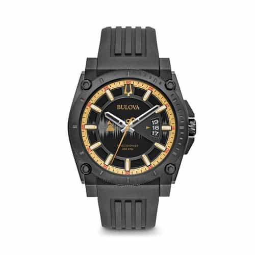 Bulova black silicone Grammy watch.