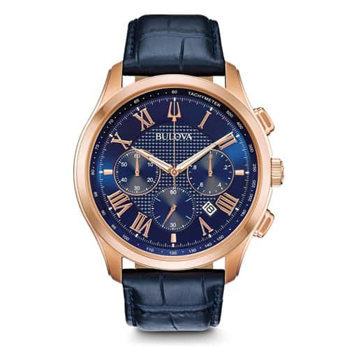 Bulova men's dark blue classic watch.