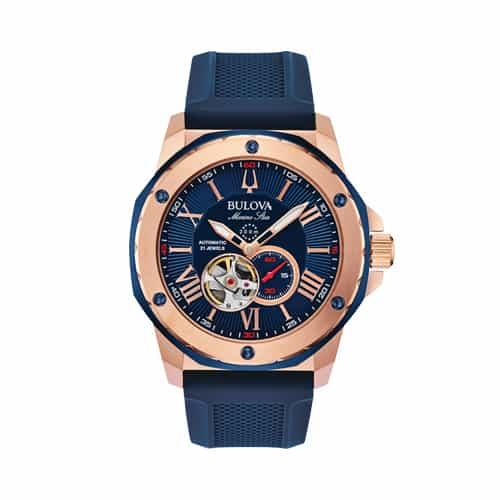 Bulova Men's Blue Silicone Marine Star Watch