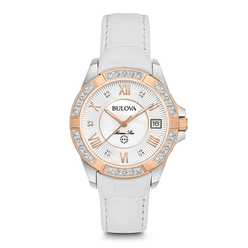 Bulova White Rose Gold Women's Marine Star Diamond Watch.
