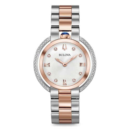 Bulova women's rubaiyat diamond rose gold watch.