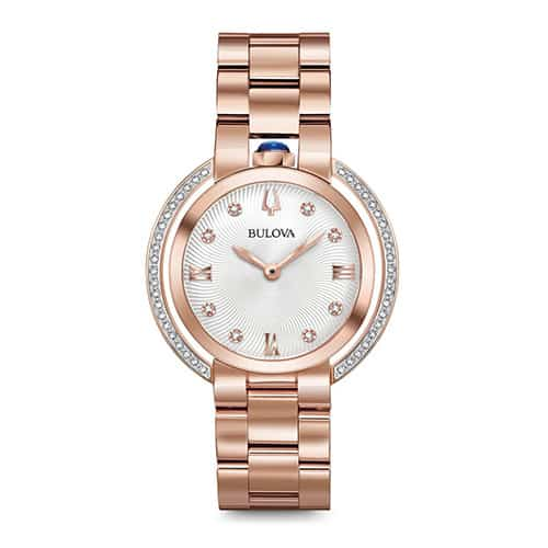Bulova Women's Rubaiyat Rose Gold Diamond Watch.