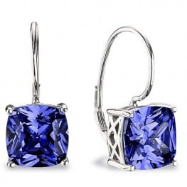 Elle Essentials Cushion Tanzatine CZ Earrings
