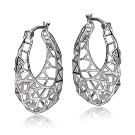 elle sterling silver webbed hoop earrings