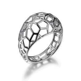elle sterling silver rhodium plated webbed dome ring